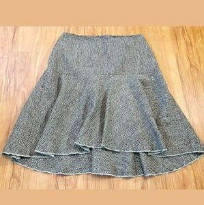 GAP Brown Turquoise Wool A-line Flare Skirt Size 6